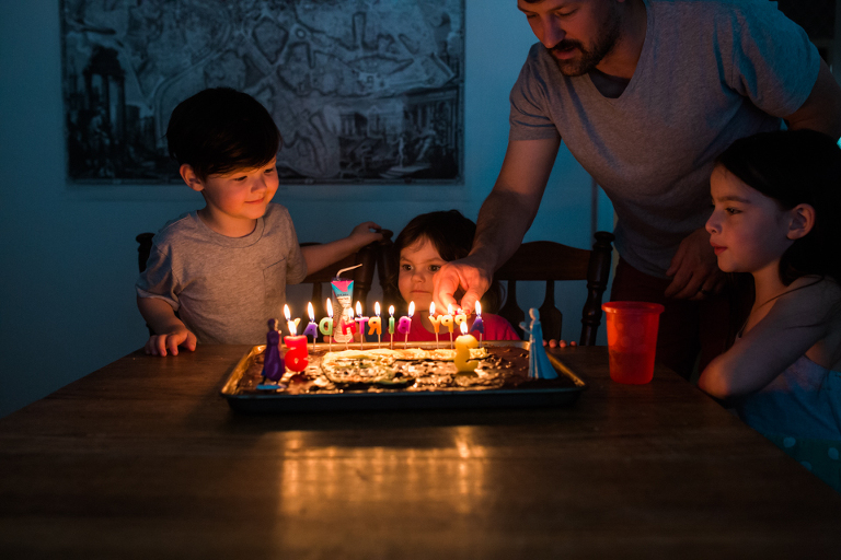 kids at birthday cake - Documentary Family Photography