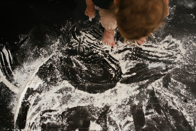 child with flour mess - Documentary Family Photography
