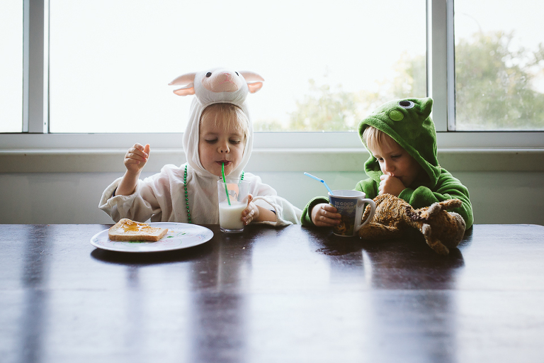 Kids eat in costume - Documentary Family Photography
