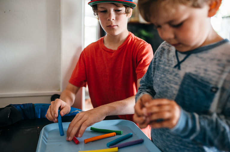 boys with crayons - Documentary Family Photography