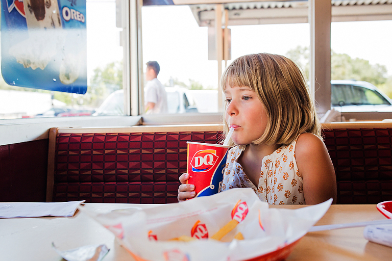 girl at fast food restaurant - Documentary Family Photography