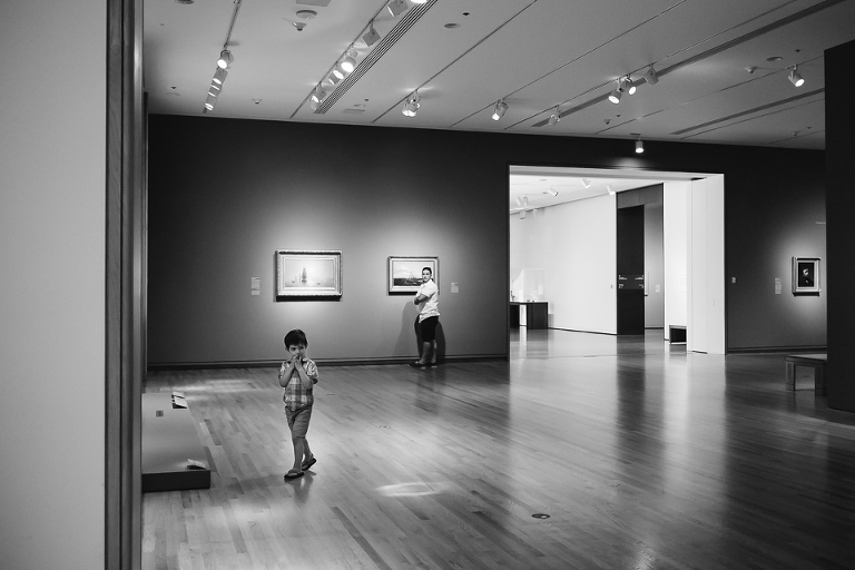Boy and father at art museum - Documentary Family Photography