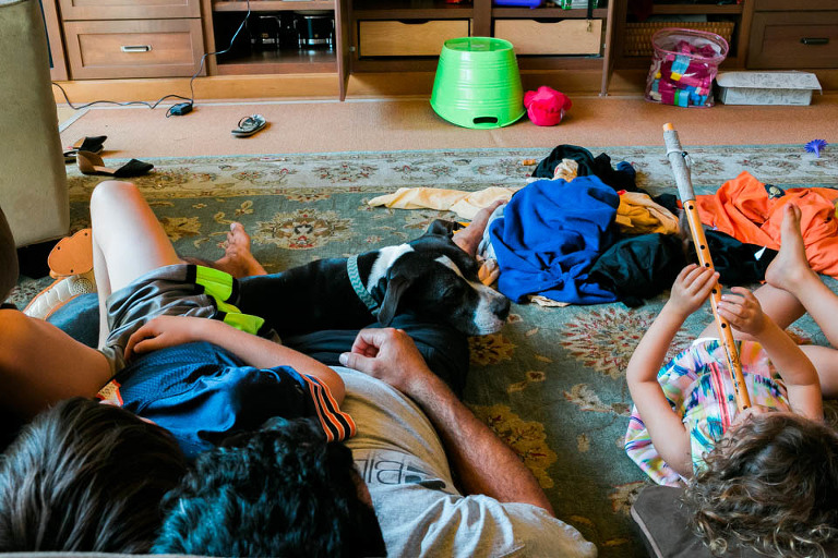 kids lounging in living room - Documentary Family Photogarphy