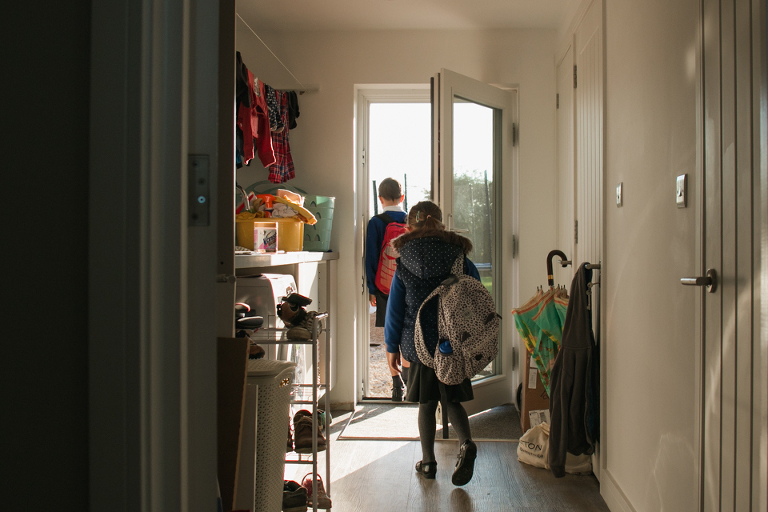 kids leaving for school - Documentary Family Photography