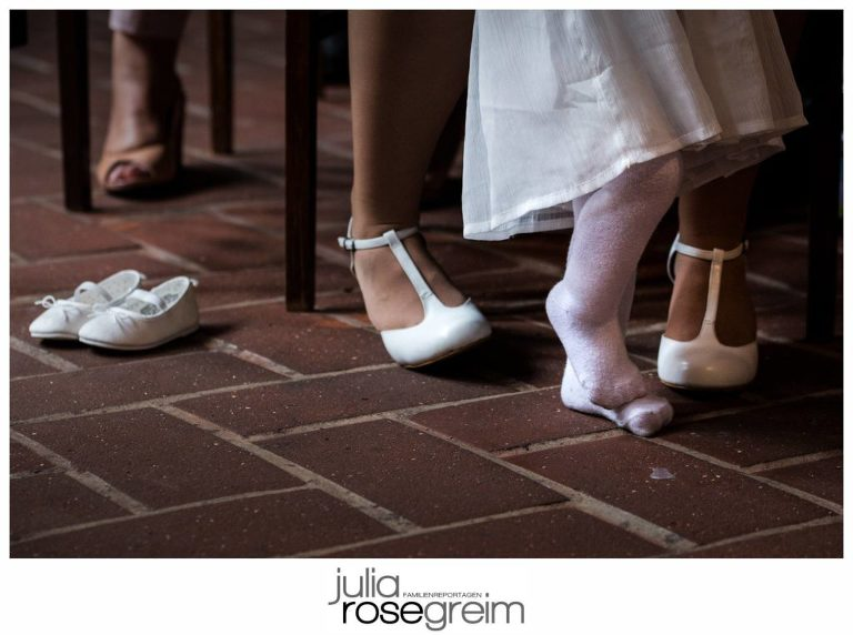 girl with no shoes at formal event - Documentary Family Photography