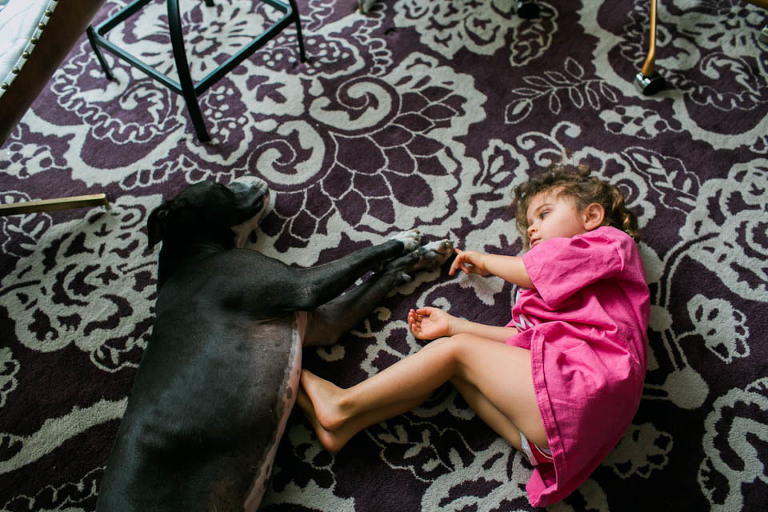 girl lays next to napping dog - Documentary Family Photography