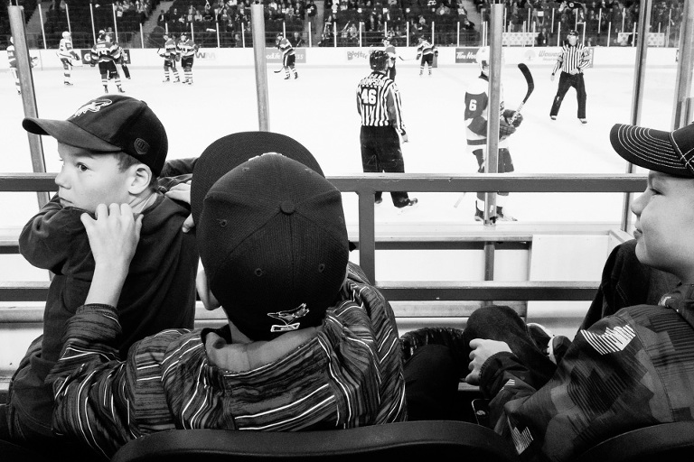 kids at hockey game - Documentary Family Photography