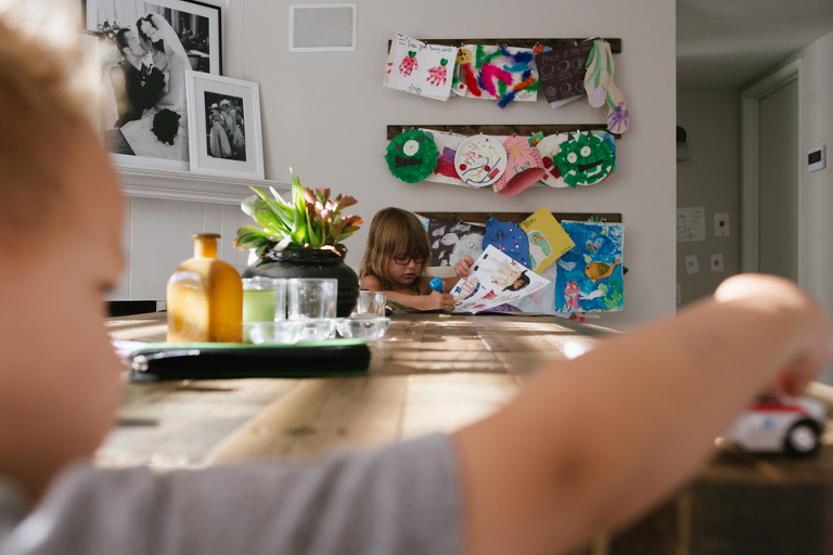 kids at kitchen table -Documentary Family Photography