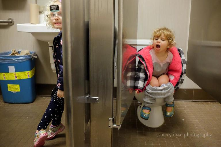 kids antics in public bathroom - Documentary Family Photography