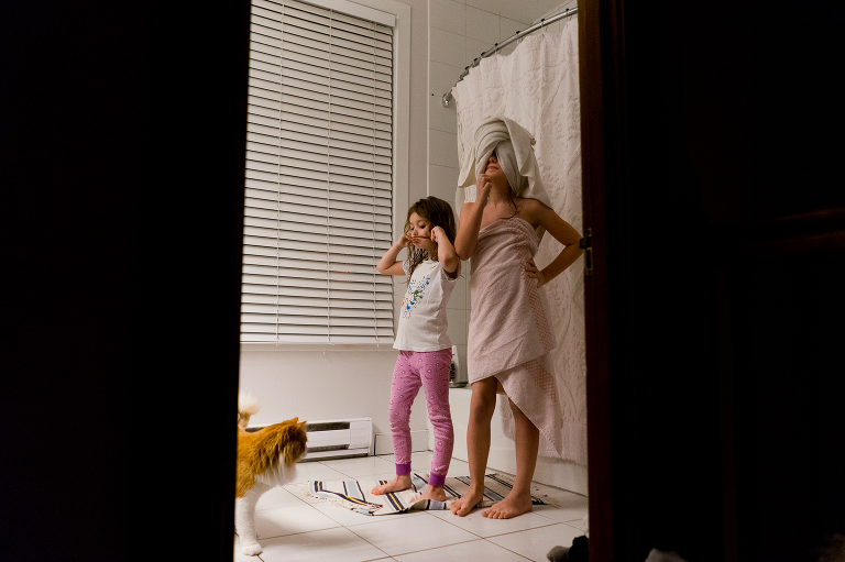 girls getting ready for bed - documentary family photography