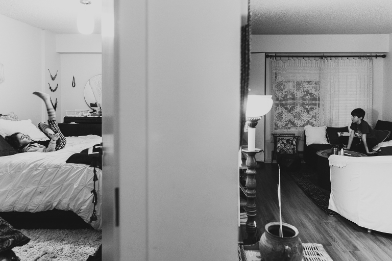 kids in adjacent rooms - documentary family photography