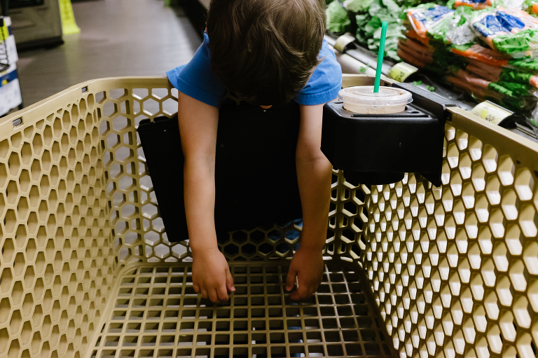 child bored at grocery store