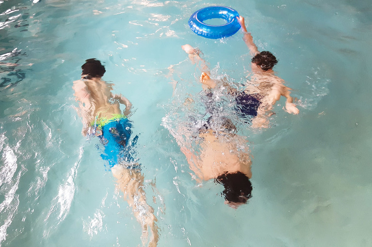 boys play in pool - Documentary Family Photography