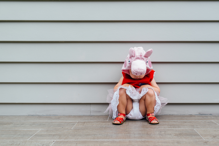 girl in peppa pig costume - Documentary Family Photography