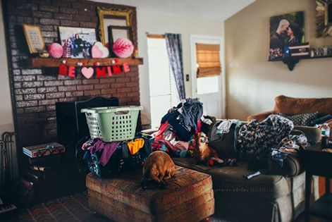 laundry in living room - Documentary Family Photography