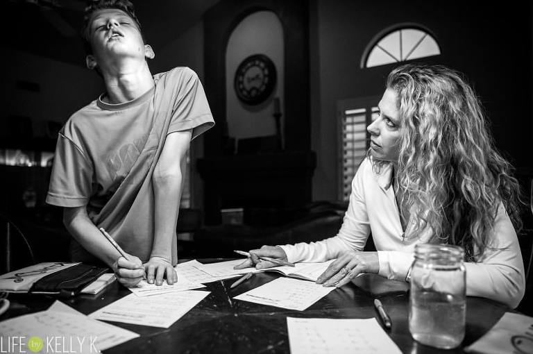 Mom and son struggle with homework