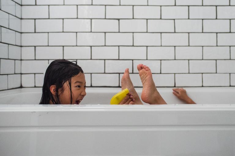 girl in bath - Documentary Family Photography