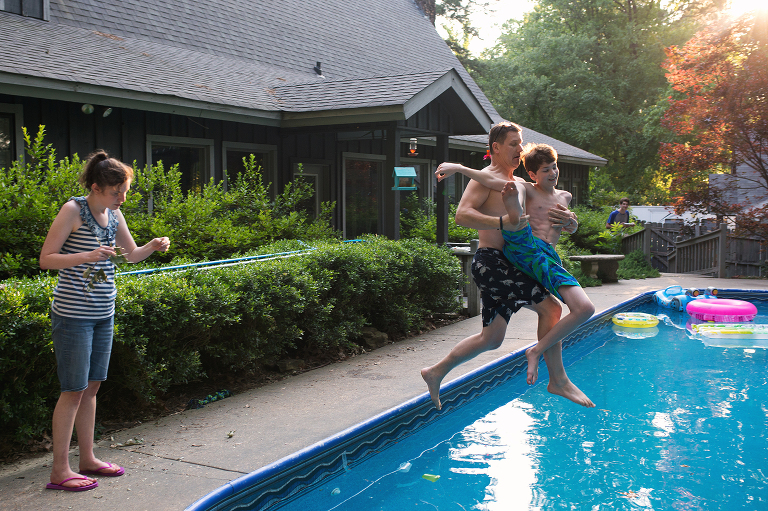 kids jump in pool - Documentary Family Photography