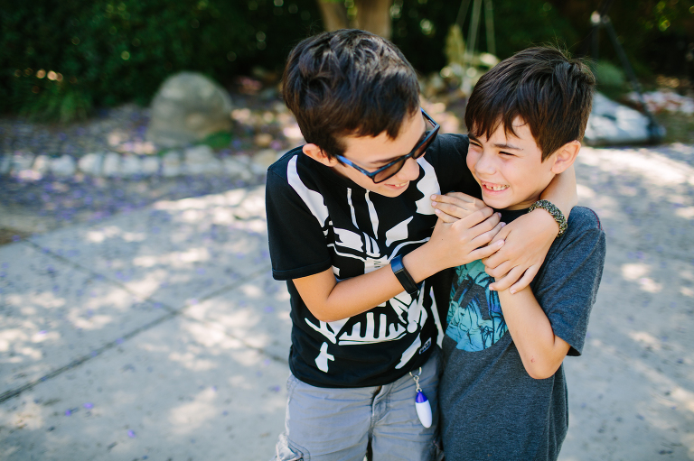 boys hugging - Documentary family photography