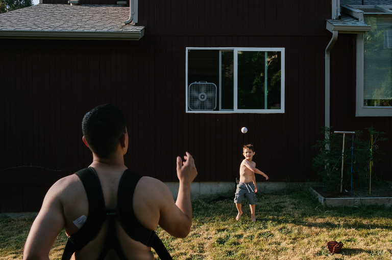 father and son play catch - Documentary Family Photography