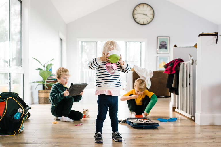 kids busy in living room - Documentary Family Photography