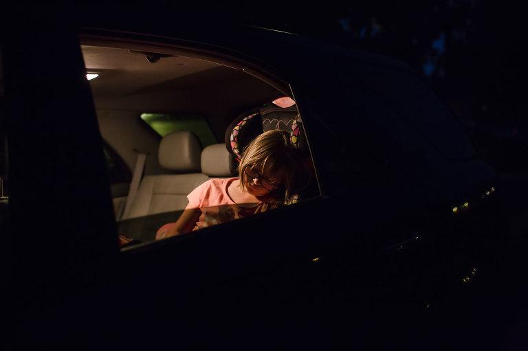 girl asleep in car - Documentary Family Photography