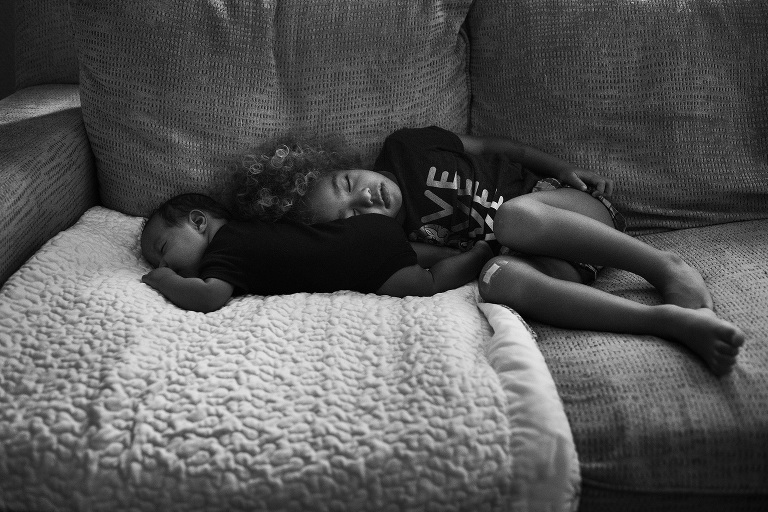 kids asleep on couch - documentary family photography