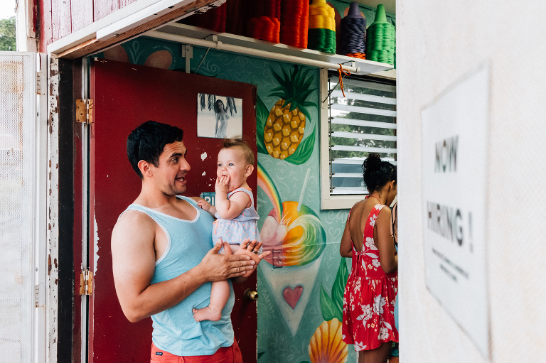 father daughter waiting for shaved ice - documentary family photography