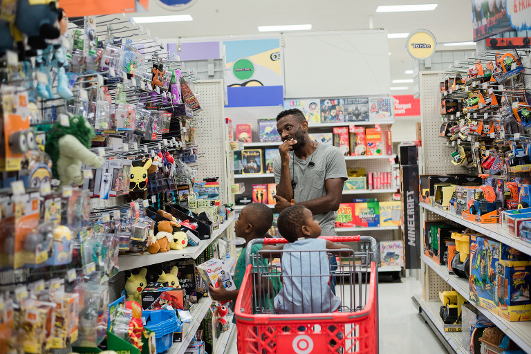dad with kids at target- documentary family photography