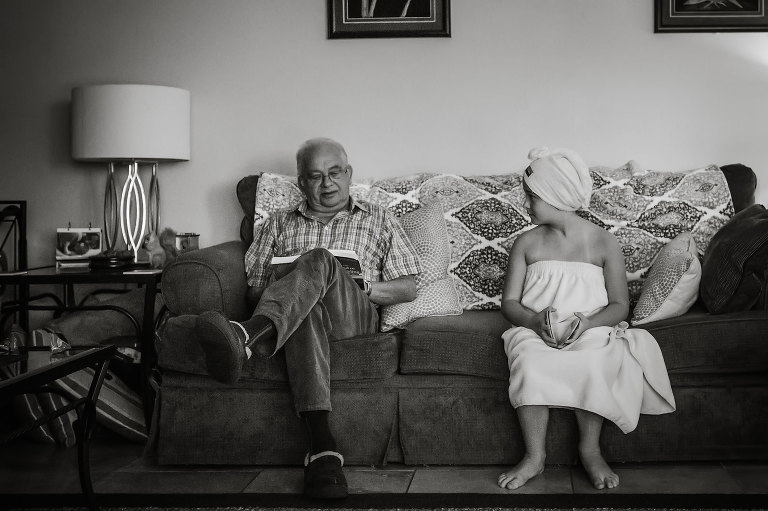 girl in towel with grandfather - documentary family photography