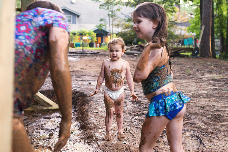 kids play in mud - Documentary Family Photography