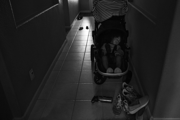 child asleep in stroller - Documentary Family Photography