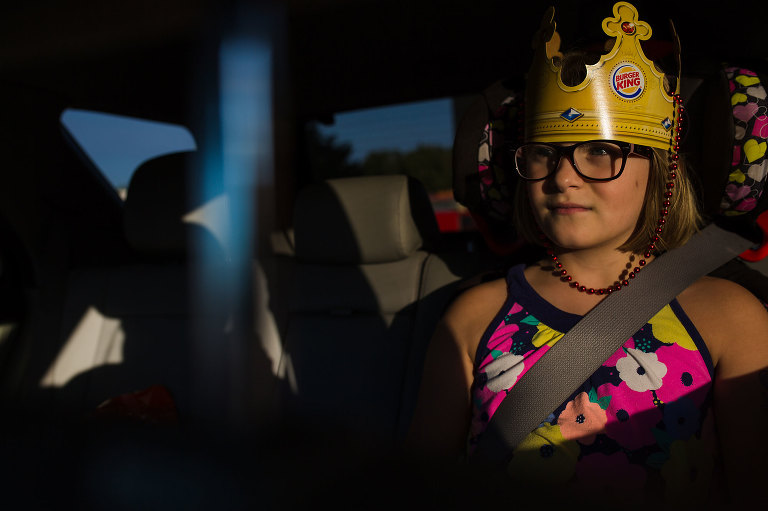 girl with burger king crown - Documentary Family Photography