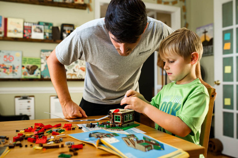father and son build legos - Documentary Family Photography