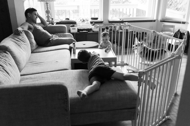 bored kids tired father - Documentary Family Photography