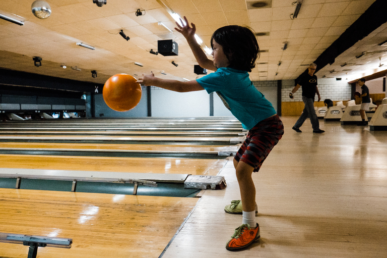 child bowling -Documentary Family Photography