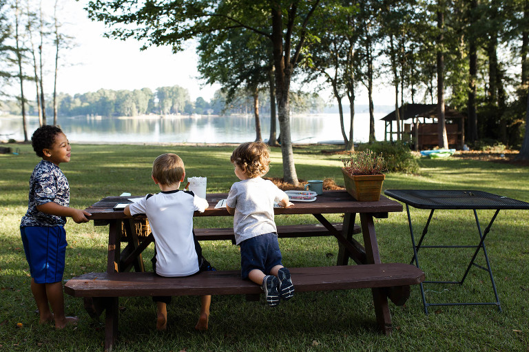 kids at picnic table - documentary family photography