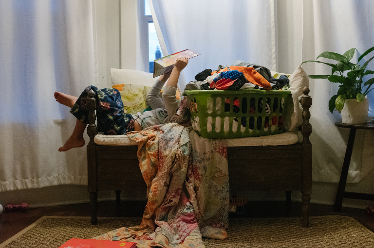 kids in laundry - Documentary Family Photography