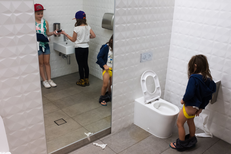 kids in bathroom - documentary family photography