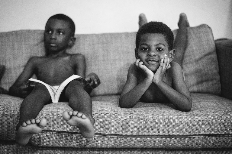 boys on couch - documentary family photography