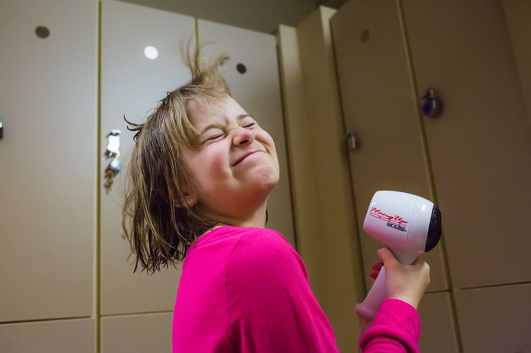girl with hairdryer - Documentary Family Photography