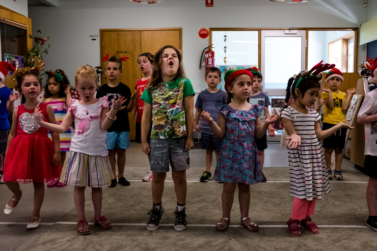 kids singing in school - documentary family photography