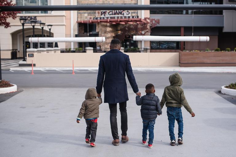 family crossing street - documentary family photography