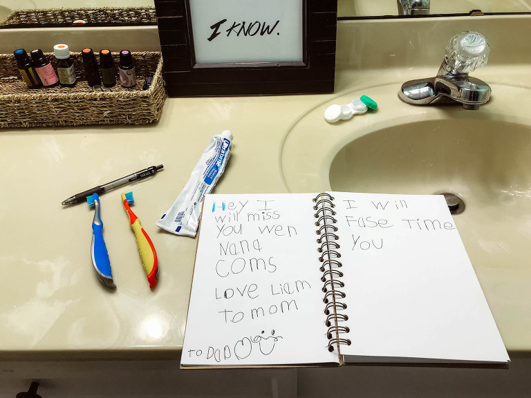 homework and toothbrushes - documentary family photography