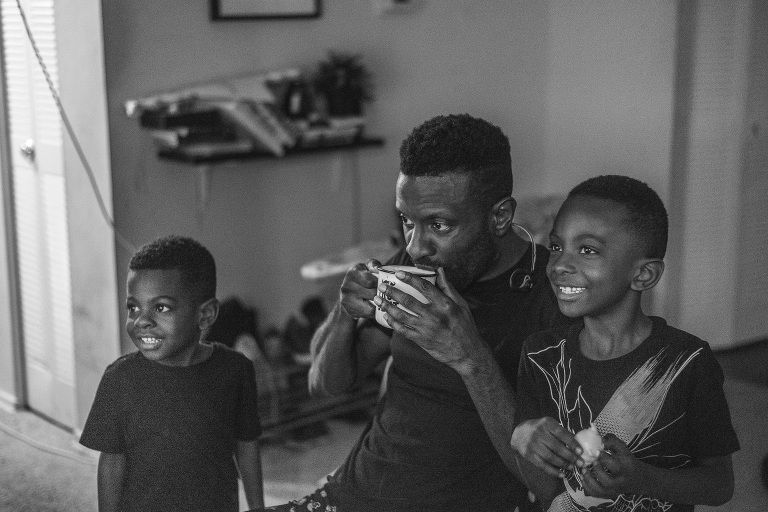 father has coffee with sons - Documentary Family Photography
