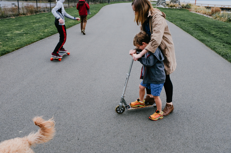 kids on scooters and skateboards - Documentary Family Photography